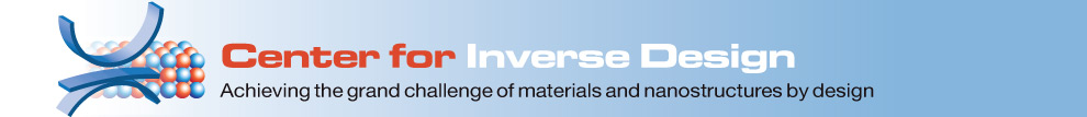 Center for Inverse Design.  Achieving the grand challenge of materials and nanostructures by design.  Graphical element on the left-hand edge is a stylized energy-band diagram in front of a schematic atomic model. The diagram represents a desired property of a material (represented by the atomic model) to be designed through the inverse design approach.