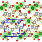 Small square outlining part of an illustration of a crystal structure. Crystal shows a regular pattern of small red balls and larger green and gray balls, connected by lines. A small, slightly canted, blue-outlined box is superimposed on the lower part of the crystal structure.